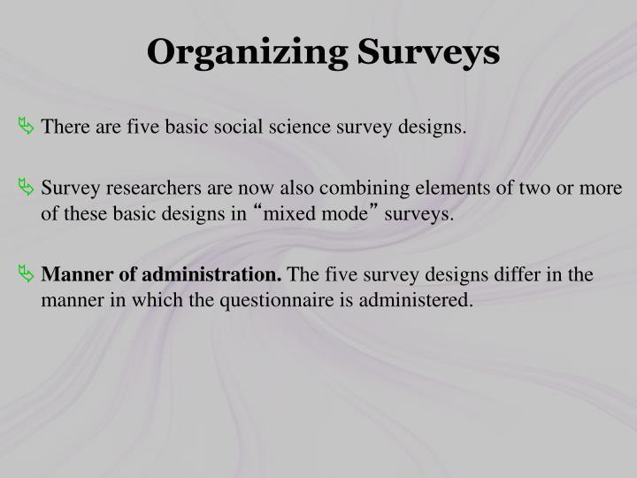 Organizing Surveys