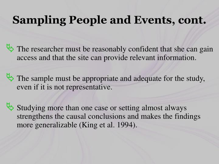 Sampling People and Events, cont.