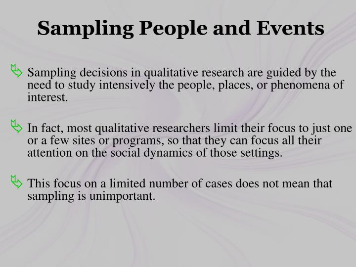 Sampling People and Events
