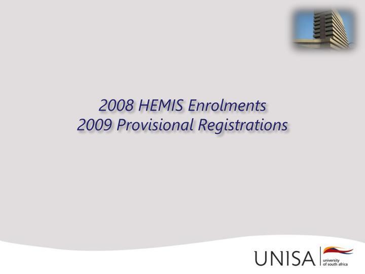 2008 HEMIS Enrolments