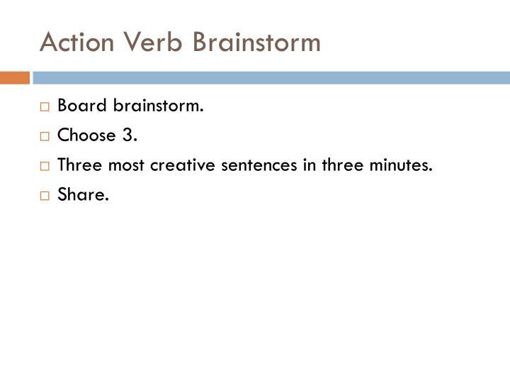 Action verb brainstorm