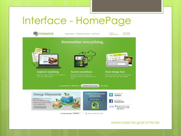 Interface - HomePage