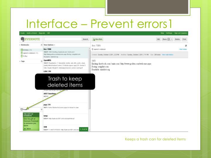Interface – Prevent errors1