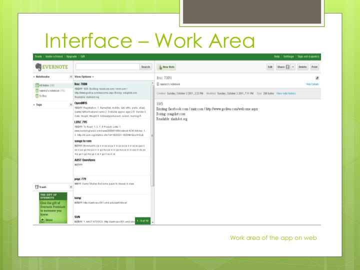 Interface – Work Area