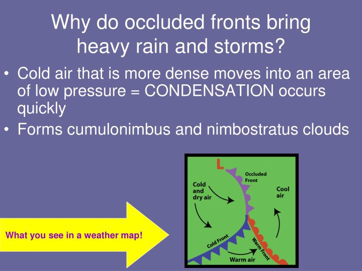 Why do occluded fronts bring heavy rain and storms?