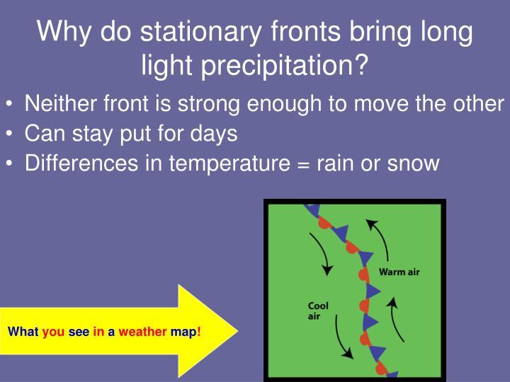 Why do stationary fronts bring long light precipitation?
