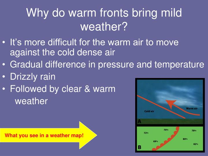 Why do warm fronts bring mild weather?