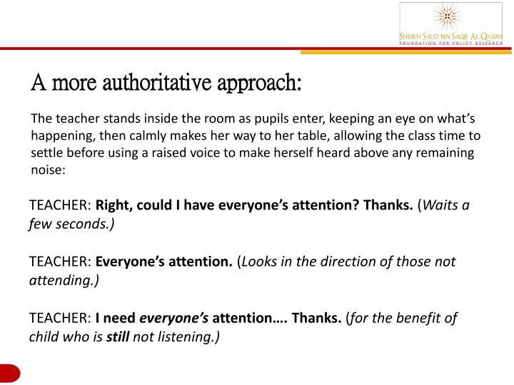 A more authoritative approach: