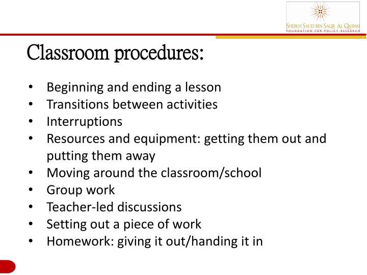 Classroom procedures: