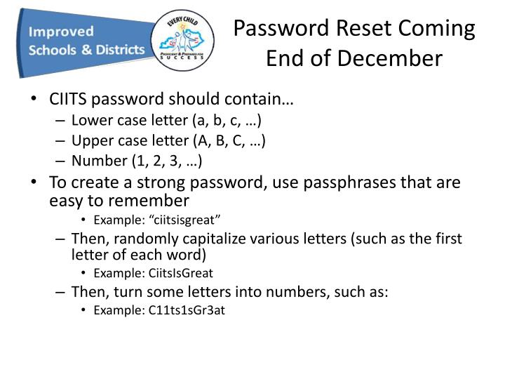 Password Reset Coming End of December