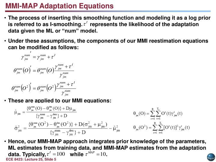 MMI-MAP Adaptation Equations