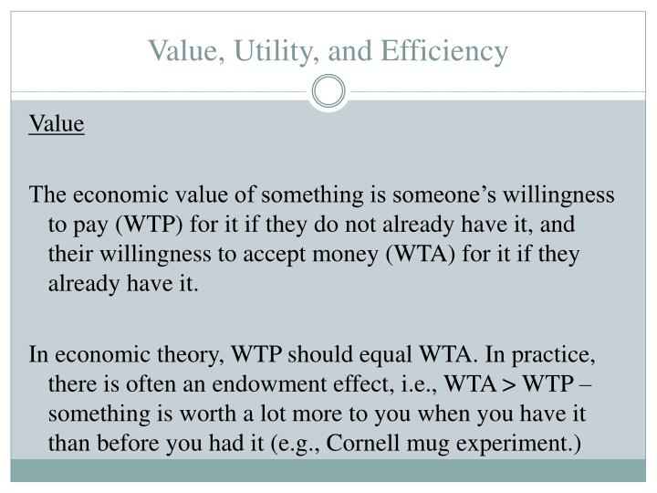 Value, Utility, and