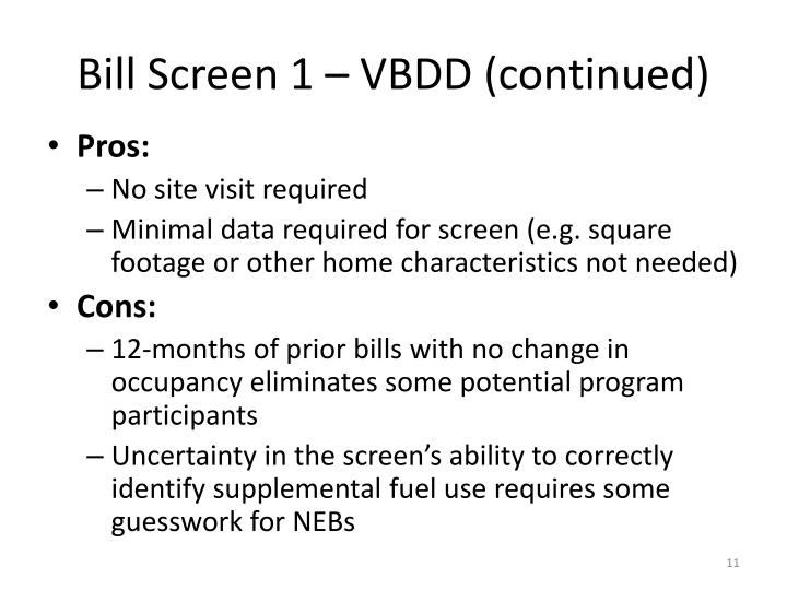 Bill Screen 1 – VBDD (continued)