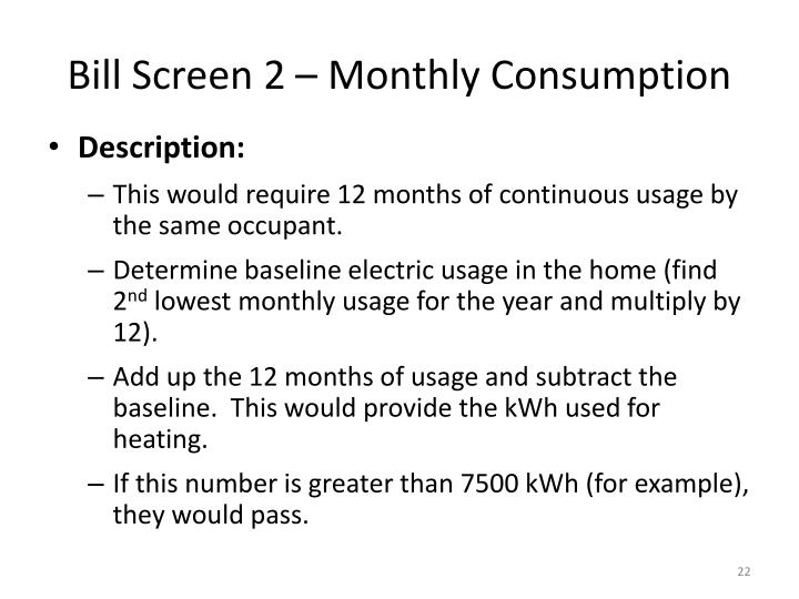 Bill Screen 2 – Monthly Consumption