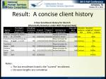 result a concise client history1