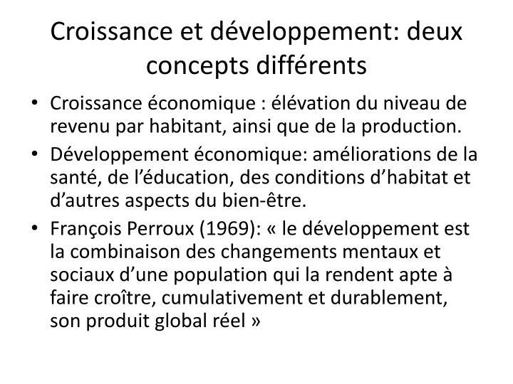 Croissance et développement: deux concepts différents