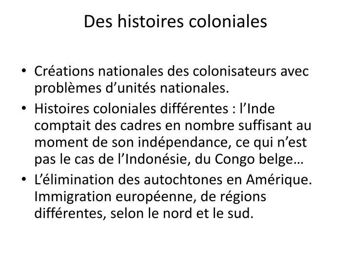 Des histoires coloniales