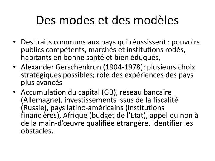 Des modes et des modèles
