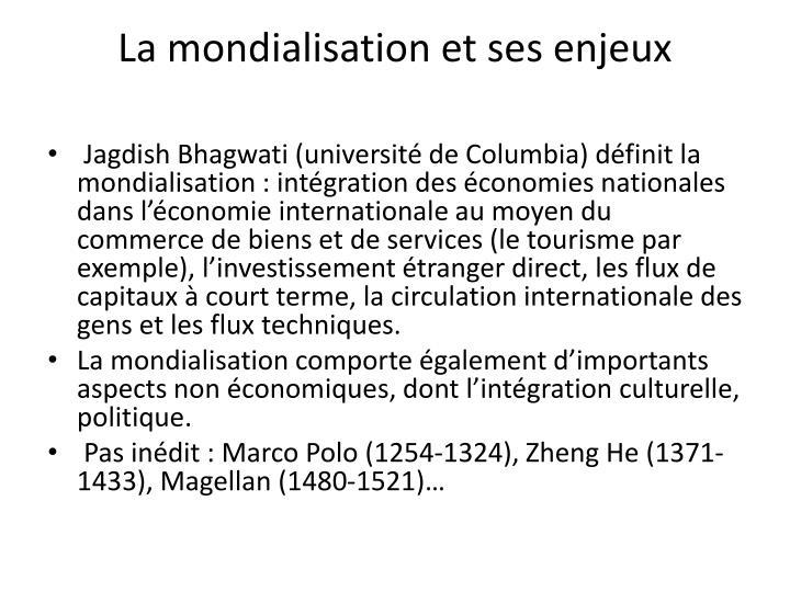La mondialisation et ses enjeux