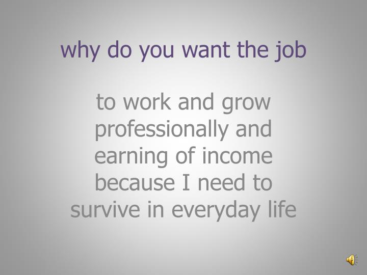 why do you want the job
