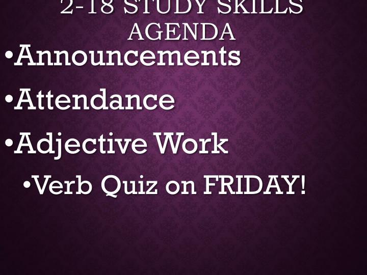 2 18 study skills agenda
