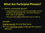 what are participial phrases