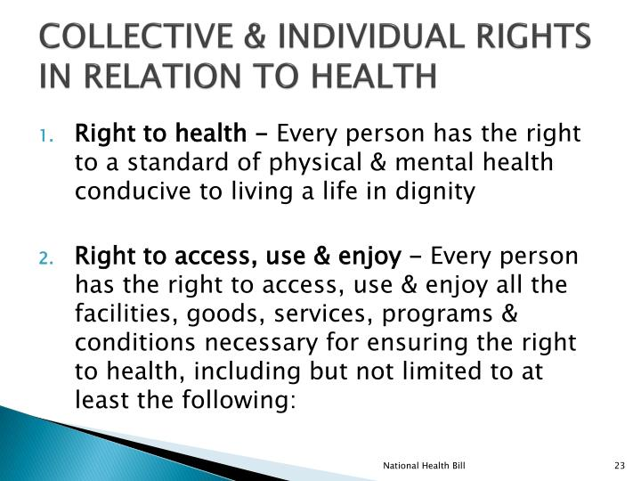 COLLECTIVE & INDIVIDUAL RIGHTS IN RELATION TO