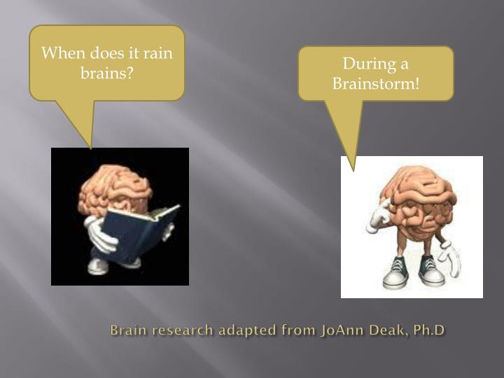 Brain research adapted from