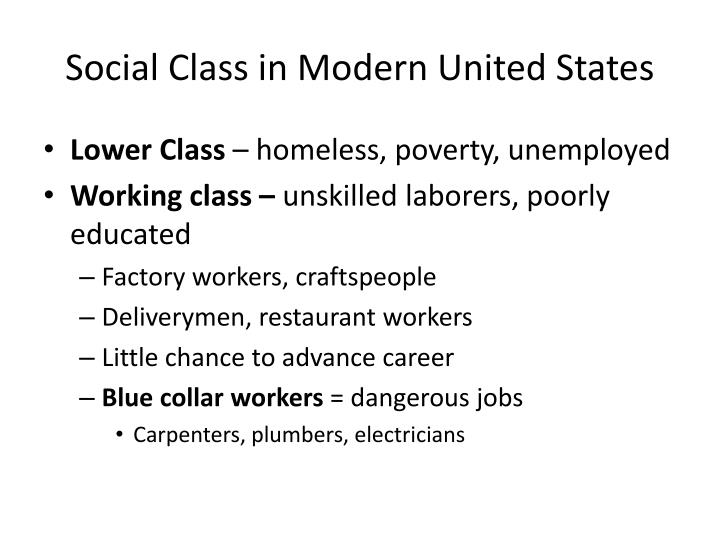 Social Class in Modern United States