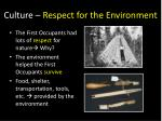 culture respect for the environment
