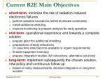 current r2e main objectives