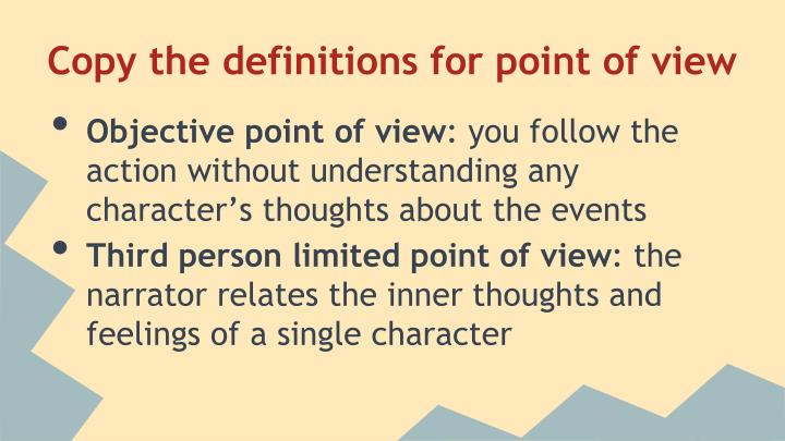 Copy the definitions for point of view