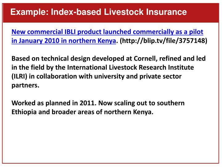 Example: Index-based Livestock Insurance