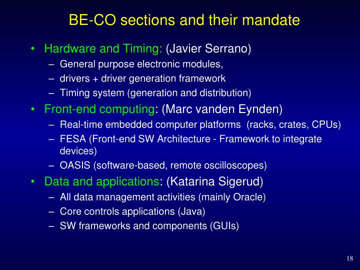 BE-CO sections and their mandate