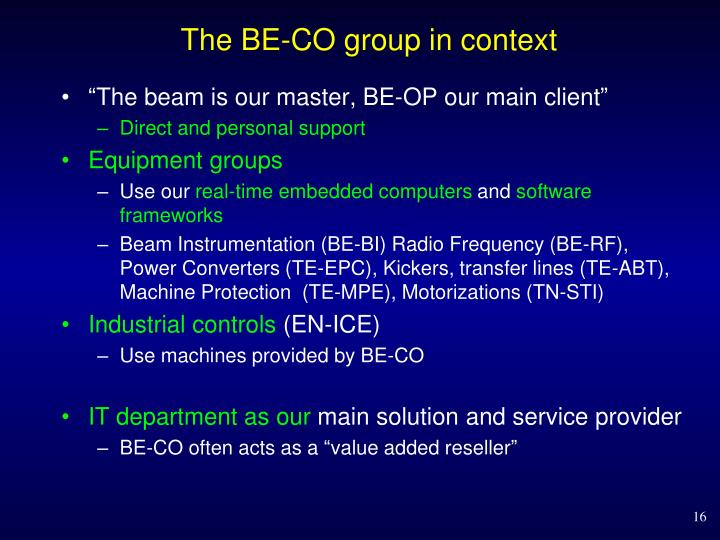The BE-CO group in context