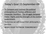 today s goal 15 september 091