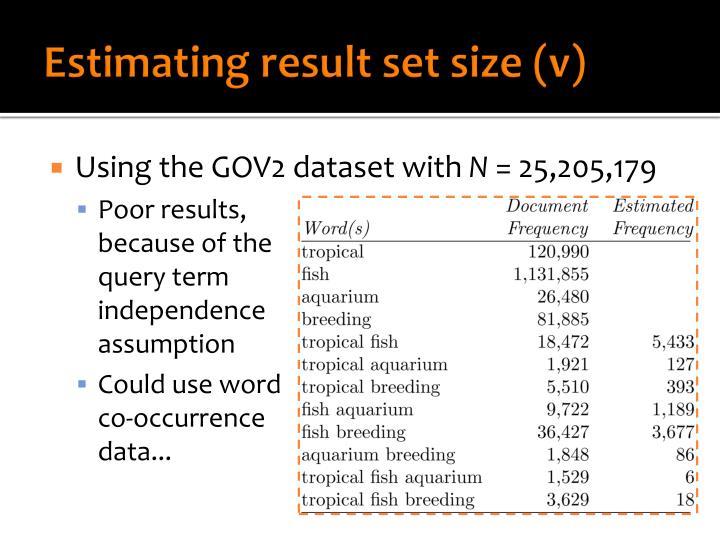 Estimating result set size (v)