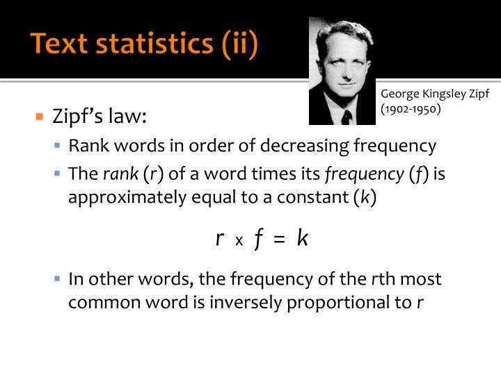 Text statistics (ii)