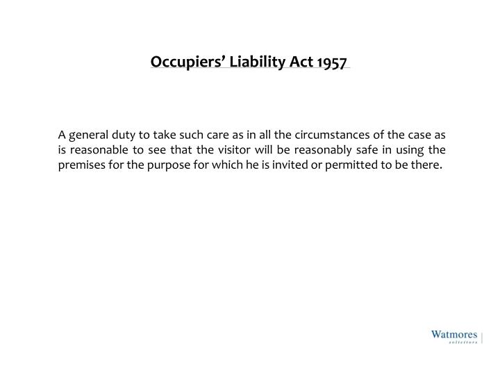 Occupiers liability act 1957