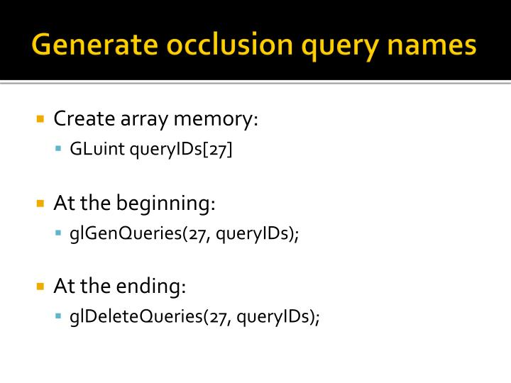 Generate occlusion query names