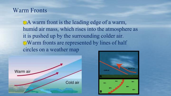 A warm front is the leading edge of a warm, humid air mass, which rises into the atmosphere as it is pushed up by the surrounding colder air.