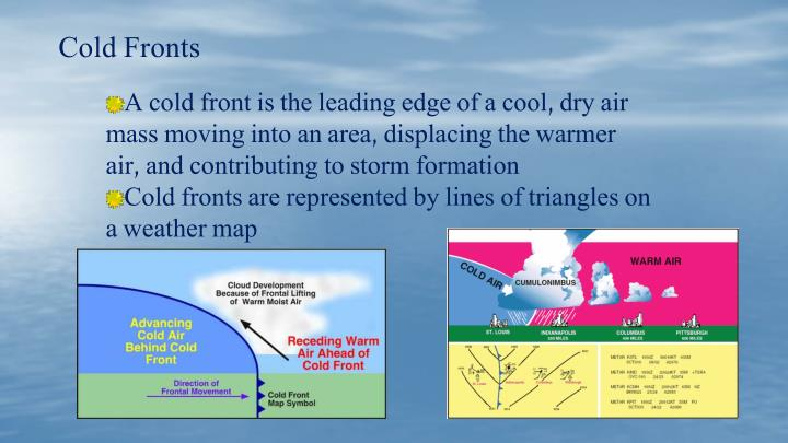 A cold front is the leading edge of a cool, dry air mass moving into an area, displacing the warmer air, and contributing to storm formation