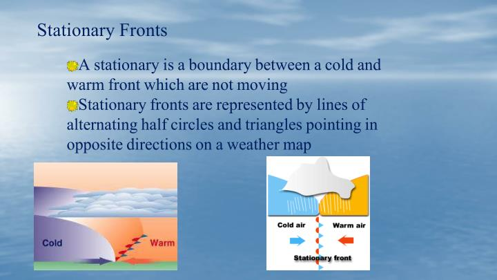 A stationary is a boundary between a cold and warm front which are not moving
