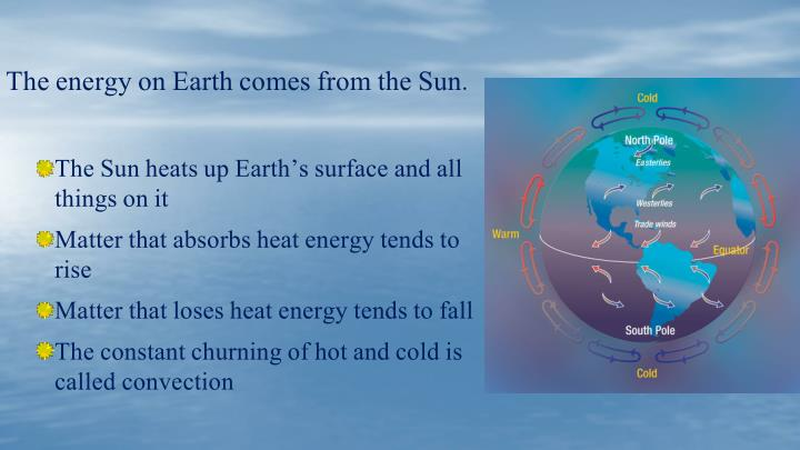 The energy on Earth comes from the Sun.