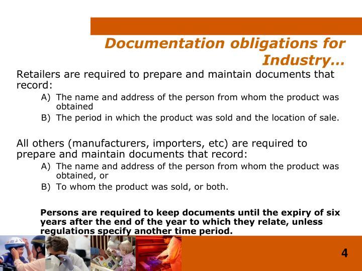 Documentation obligations for Industry…