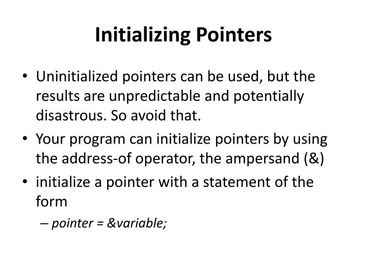 Initializing Pointers