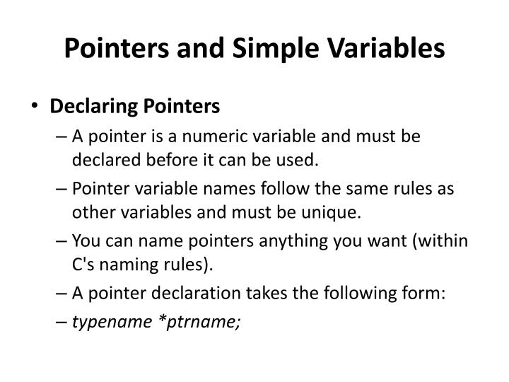 Pointers and Simple Variables