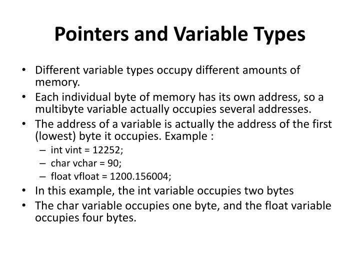 Pointers and Variable Types