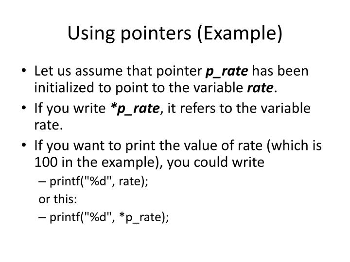 Using pointers (Example)