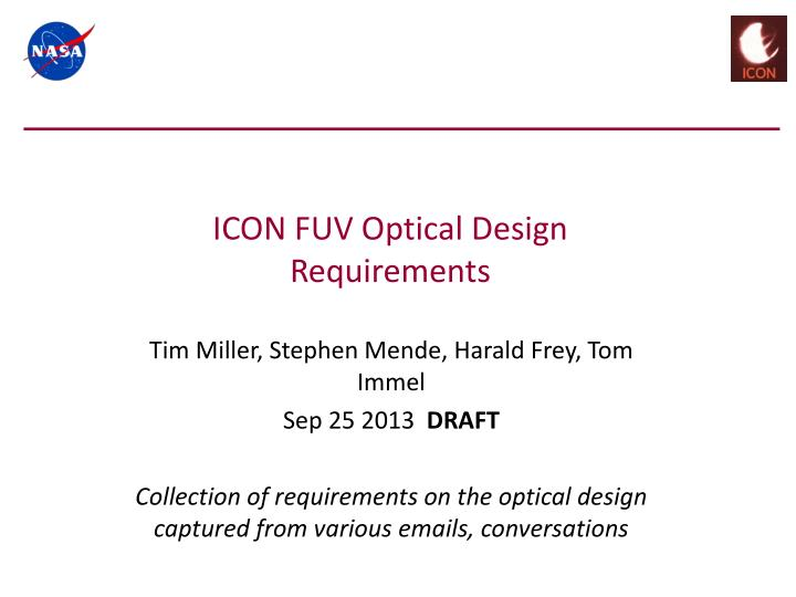 icon fuv optical design requirements